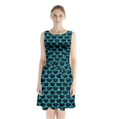 SCA3 BK-TQ MARBLE Sleeveless Chiffon Waist Tie Dress by trendistuff