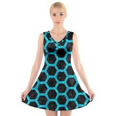 HXG2 BK-TQ MARBLE V-Neck Sleeveless Skater Dress by trendistuff