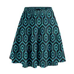 Hexagon1 Black Marble & Turquoise Marble High Waist Skirt by trendistuff