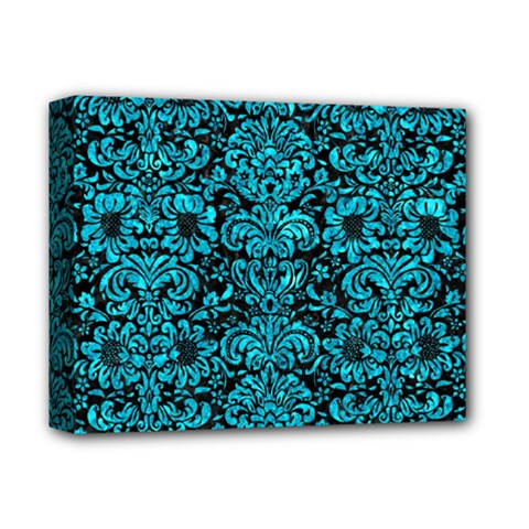 Damask2 Black Marble & Turquoise Marble Deluxe Canvas 14  X 11  (stretched) by trendistuff