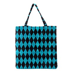 Diamond1 Black Marble & Turquoise Marble Grocery Tote Bag by trendistuff