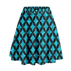 Circles3 Black Marble & Turquoise Marble (r) High Waist Skirt by trendistuff