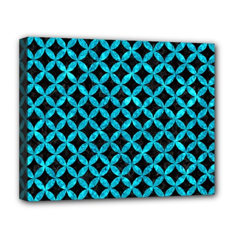 Circles3 Black Marble & Turquoise Marble Deluxe Canvas 20  X 16  (stretched) by trendistuff
