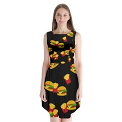 Hamburgers and french fries pattern Sleeveless Chiffon Dress   by Valentinaart