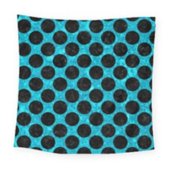 Circles2 Black Marble & Turquoise Marble (r) Square Tapestry (large)