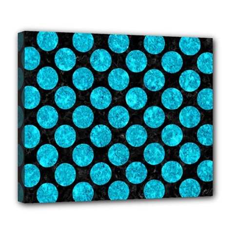 Circles2 Black Marble & Turquoise Marble Deluxe Canvas 24  X 20  (stretched) by trendistuff