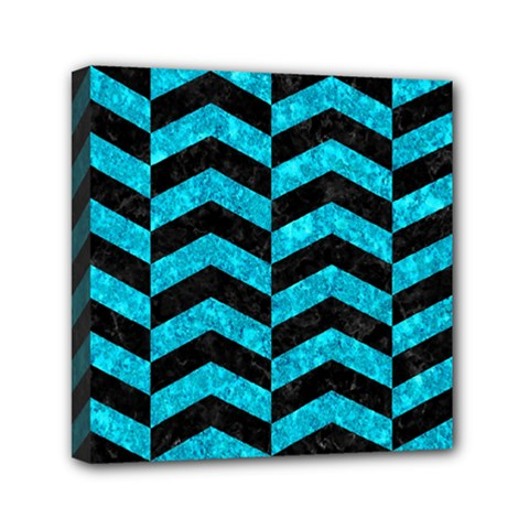 Chevron2 Black Marble & Turquoise Marble Mini Canvas 6  X 6  (stretched) by trendistuff
