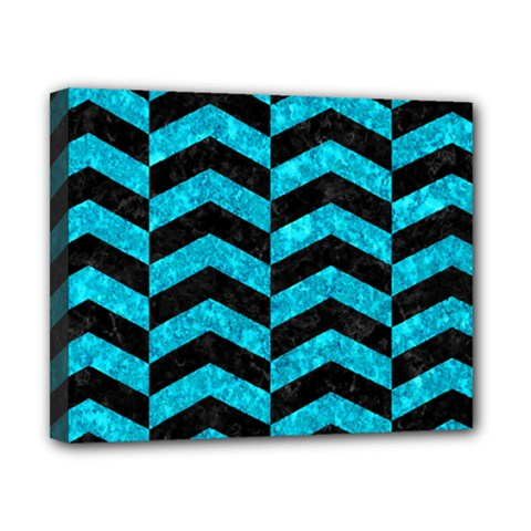 Chevron2 Black Marble & Turquoise Marble Canvas 10  X 8  (stretched) by trendistuff