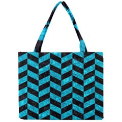 Chevron1 Black Marble & Turquoise Marble Mini Tote Bag by trendistuff
