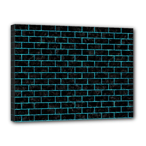 Brick1 Black Marble & Turquoise Marble Canvas 16  X 12  (stretched) by trendistuff