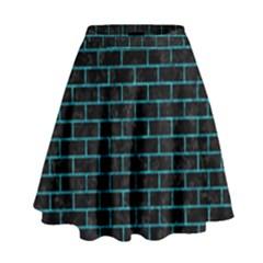 Brick1 Black Marble & Turquoise Marble High Waist Skirt by trendistuff