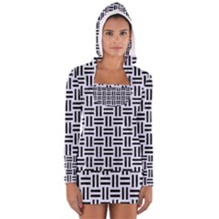 WOV1 BK-WH MARBLE (R) Women s Long Sleeve Hooded T-shirt by trendistuff