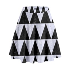 Triangle2 Black Marble & White Marble High Waist Skirt by trendistuff