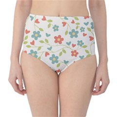 Abstract Vintage Flower Floral Pattern High Waist Bikini Bottoms by Amaryn4rt