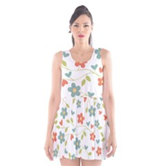 Abstract Vintage Flower Floral Pattern Scoop Neck Skater Dress by Amaryn4rt