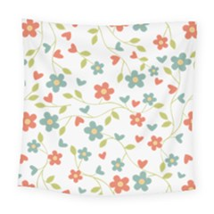 Abstract Vintage Flower Floral Pattern Square Tapestry (large) by Amaryn4rt