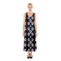 Dark Floral Sleeveless Maxi Dress by dflcprintsclothing