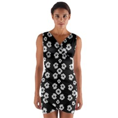 Dark Floral Wrap Front Bodycon Dress by dflcprintsclothing