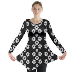 Dark Floral Long Sleeve Tunic  by dflcprintsclothing