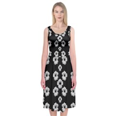 Dark Floral Midi Sleeveless Dress by dflcprintsclothing