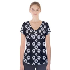 Dark Floral Short Sleeve Front Detail Top by dflcprintsclothing