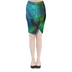 Background Nebulous Fog Rings Midi Wrap Pencil Skirt