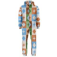Fabric Textile Textures Cubes Hooded Jumpsuit (men)