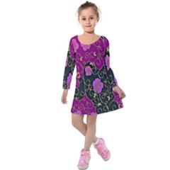 Floral Pattern Background Kids  Long Sleeve Velvet Dress