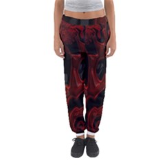 Fractal Red Black Glossy Pattern Decorative Women s Jogger Sweatpants by Amaryn4rt