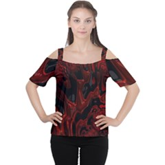 Fractal Red Black Glossy Pattern Decorative Women s Cutout Shoulder Tee by Amaryn4rt