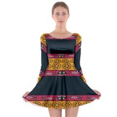 Pattern Ornaments Africa Safari Summer Graphic Long Sleeve Skater Dress by Amaryn4rt