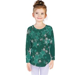 Star Seamless Tile Background Abstract Kids  Long Sleeve Tee by Amaryn4rt