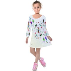Star Structure Many Repetition Kids  Long Sleeve Velvet Dress by Amaryn4rt