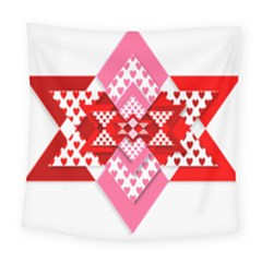 Valentine Heart Love Pattern Square Tapestry (large)