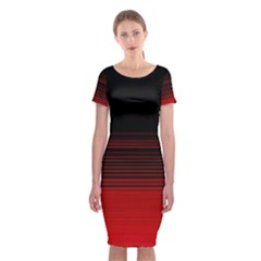 Abstract Of Red Horizontal Lines Classic Short Sleeve Midi Dress by Amaryn4rt