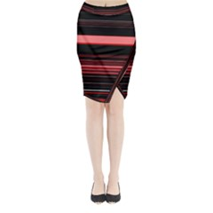 Abstract Of Red Horizontal Lines Midi Wrap Pencil Skirt by Amaryn4rt