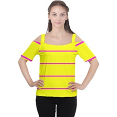 Background Image Horizontal Lines And Stripes Seamless Tileable Magenta Yellow Women s Cutout Shoulder Tee