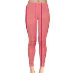 Background Image Vertical Lines And Stripes Seamless Tileable Deep Pink Salmon Leggings  by Amaryn4rt