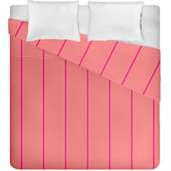 Background Image Vertical Lines And Stripes Seamless Tileable Deep Pink Salmon Duvet Cover Double Side (king Size) by Amaryn4rt