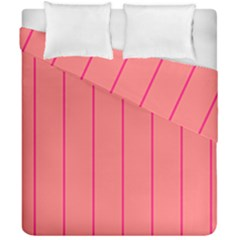 Background Image Vertical Lines And Stripes Seamless Tileable Deep Pink Salmon Duvet Cover Double Side (california King Size) by Amaryn4rt