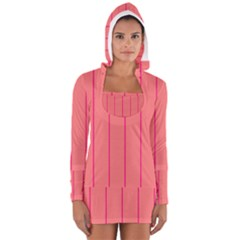 Background Image Vertical Lines And Stripes Seamless Tileable Deep Pink Salmon Women s Long Sleeve Hooded T Shirt by Amaryn4rt