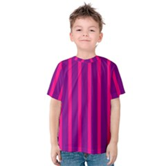 Deep Pink And Black Vertical Lines Kids  Cotton Tee by Amaryn4rt