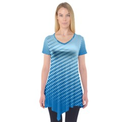 Blue Dot Pattern Short Sleeve Tunic  by Amaryn4rt
