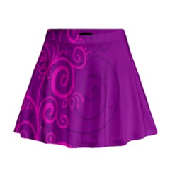 Floraly Swirlish Purple Color Mini Flare Skirt
