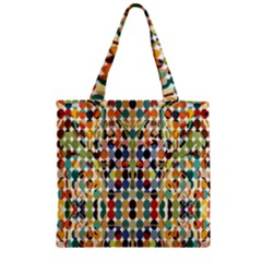 Retro Pattern Abstract Zipper Grocery Tote Bag
