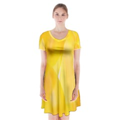 Yellow Pattern Painting Short Sleeve V-neck Flare Dress by Amaryn4rt