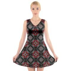 Abstract Black And Red Pattern V Neck Sleeveless Skater Dress