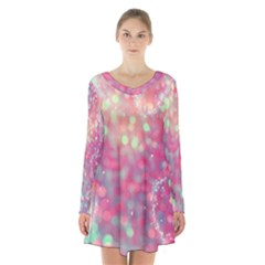 Colorful sparkles Long Sleeve Velvet V-neck Dress