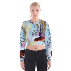 Abstract Currency Background Women s Cropped Sweatshirt