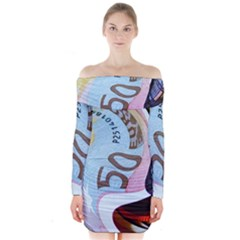 Abstract Currency Background Long Sleeve Off Shoulder Dress by Amaryn4rt